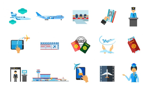 Traveling abroad icon set Free Vector