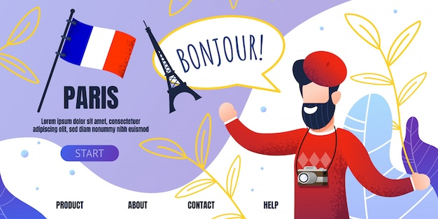 Traveling agency landing page welcoming to paris Premium Vector