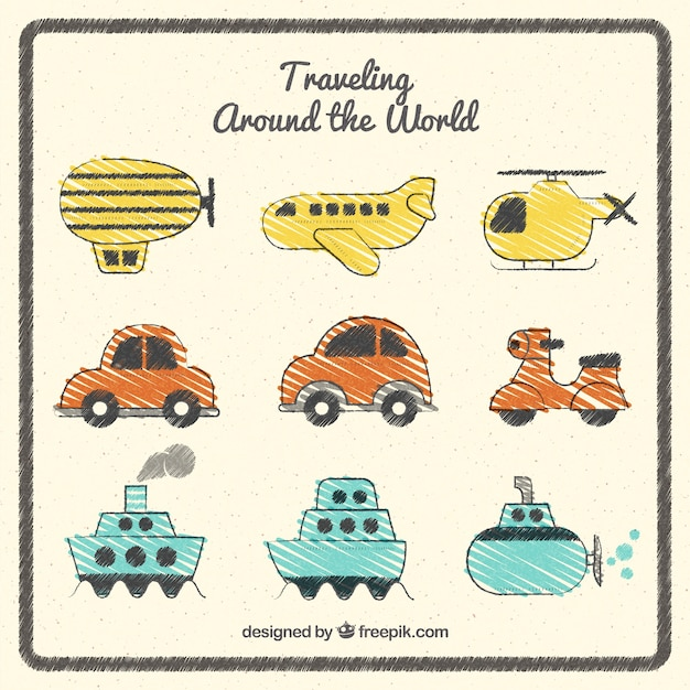 Traveling around the world pack Free Vector