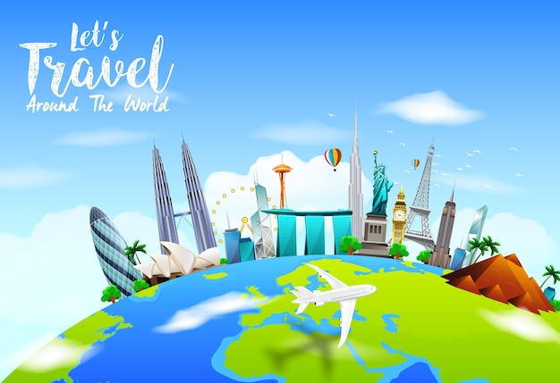 Traveling background with world famous monuments on earth Premium Vector