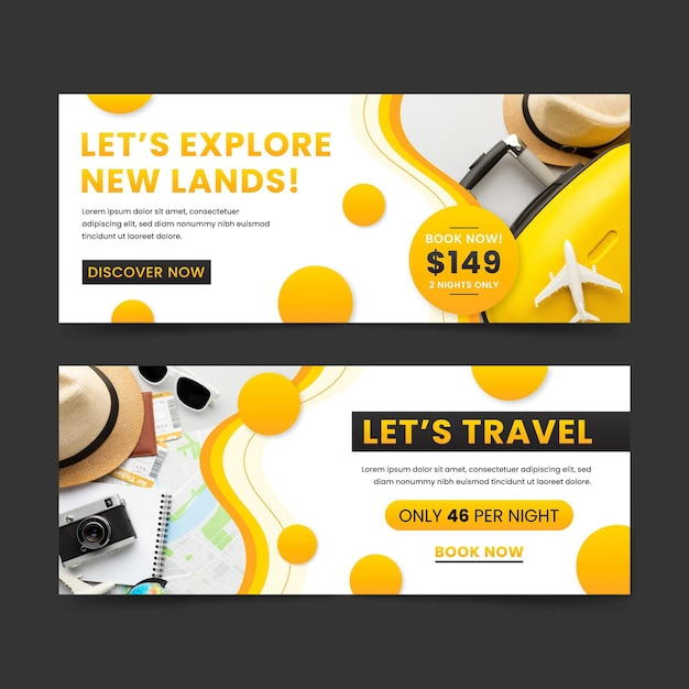 Traveling banners design set Free Vector