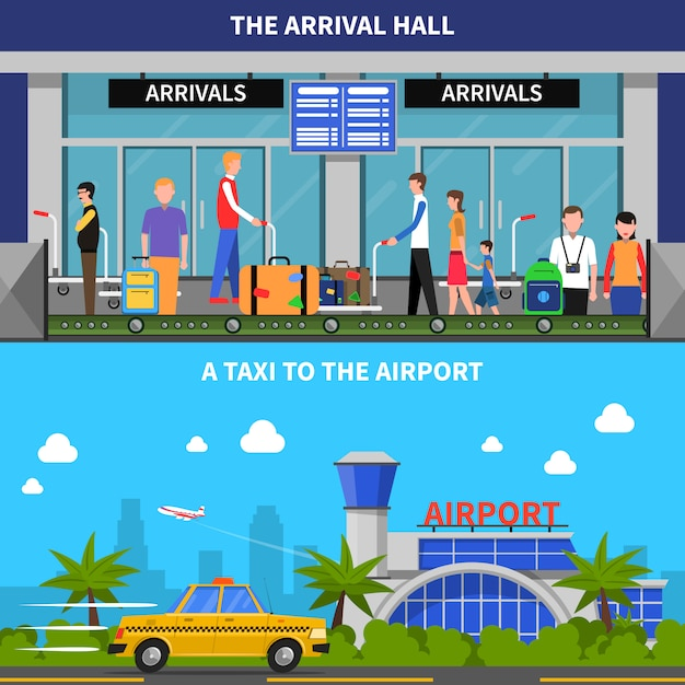 Traveling by plane banners set Free Vector