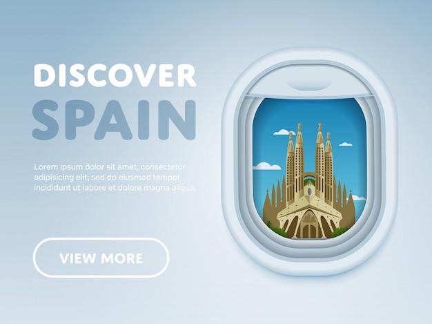 Traveling by plane, landmarks in the window, Premium Vector