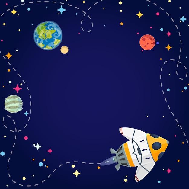 Traveling cartoon spaceship. Premium Vector