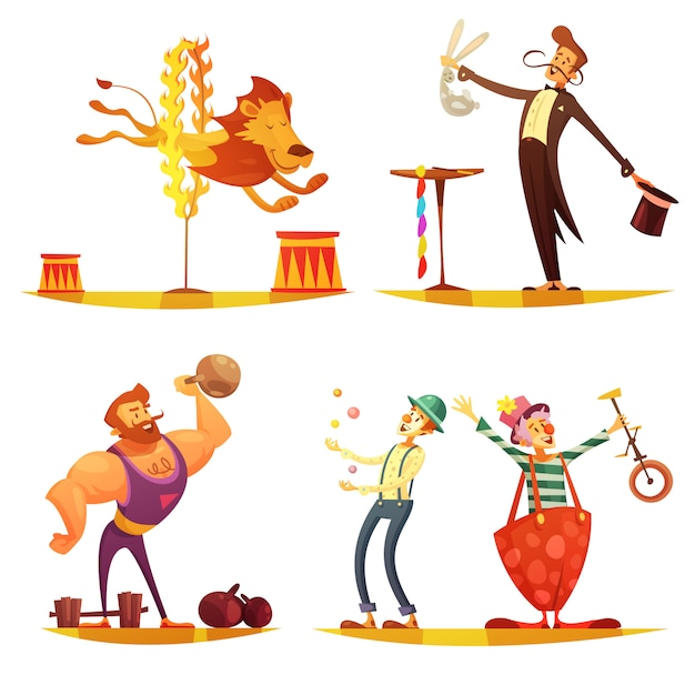 Traveling circus retro cartoon 4 icons square composition with performing strongman clown Free Vector