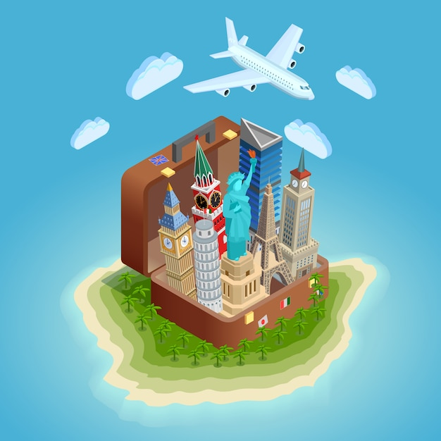 Traveling concept poster with landmarks Free Vector