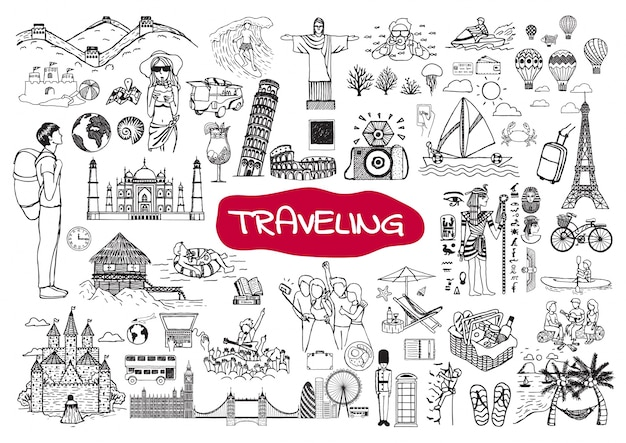 Traveling elements collection Free Vector
