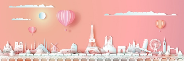 Traveling europe landmarks of world with train and ballon. Premium Vector