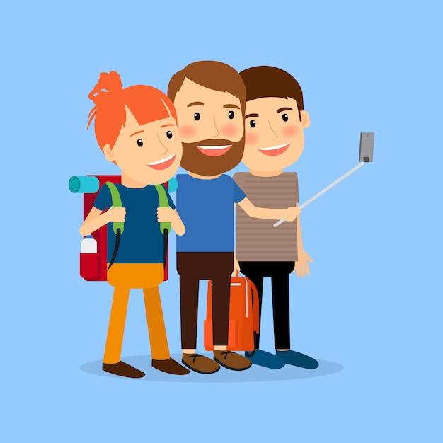 Traveling family make selfie Premium Vector