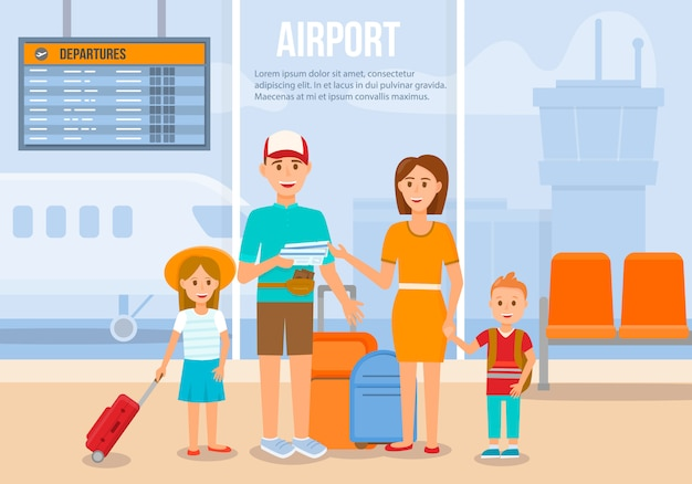 Traveling family on vacation Premium Vector