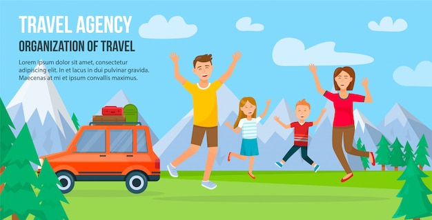 Traveling family on vacation. Premium Vector