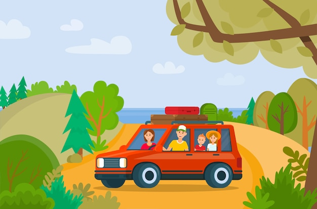 Premium Vector Traveling Family On Vacation