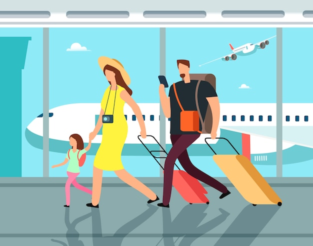 Traveling family with luggage in airpor terminal. Premium Vector