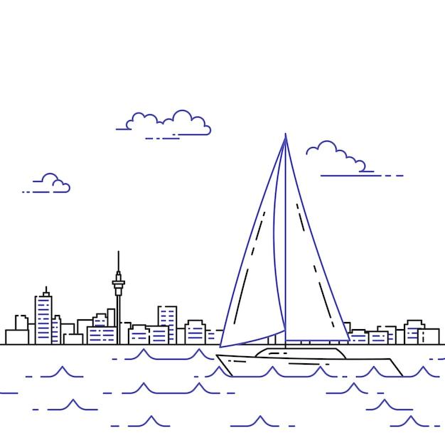 Путешествие горизонтальный баннер с парусником на волнах Premium векторы
