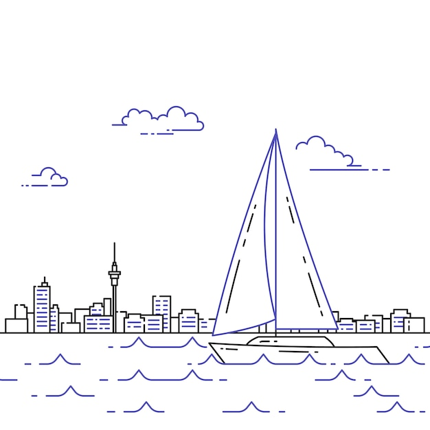 Traveling horizontal banner with sailboat on waves Premium Vector