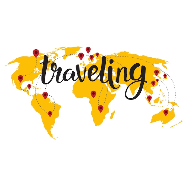 Traveling lettering over world map Premium Vector