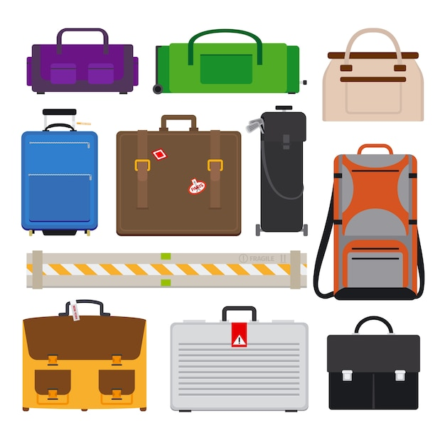 Traveling luggage icons Premium Vector