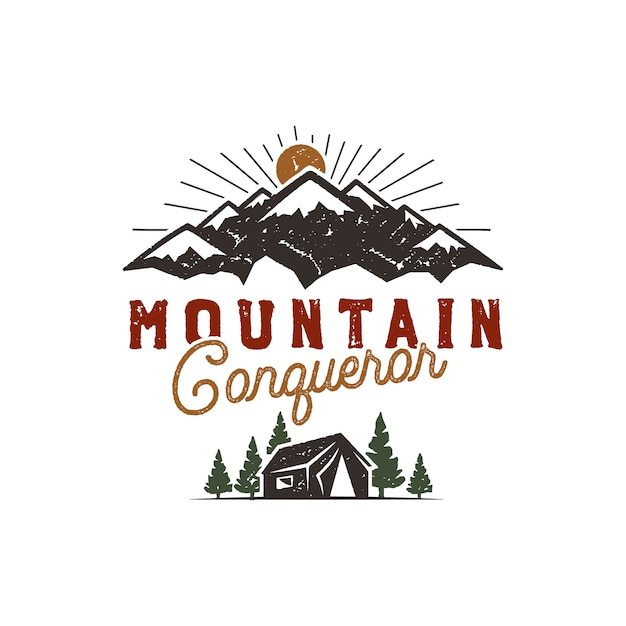 Traveling, outdoor badge. scout camp emblem. vintage hand drawn design. mountain conqueror quote. stock vector illustration, insignia, rustic patch. Premium Vector