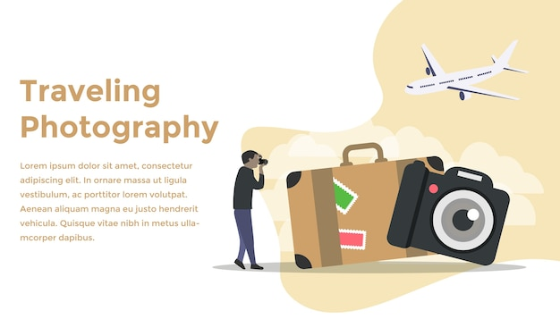 Traveling photography concept Premium Vector