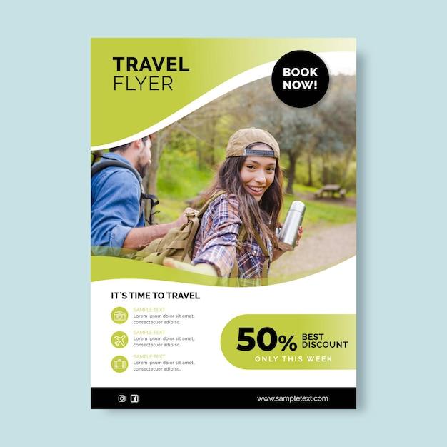 写真付き旅行販売チラシテンプレート Premiumベクター