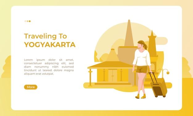 Путешествие в джокьякарту, индонезия, проиллюстрировано праздничной темой для дня туризма Premium векторы