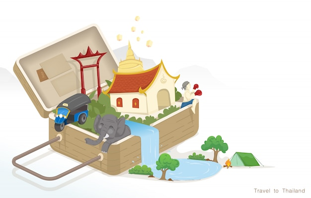 Traveling with luggage to thailand Premium Vector