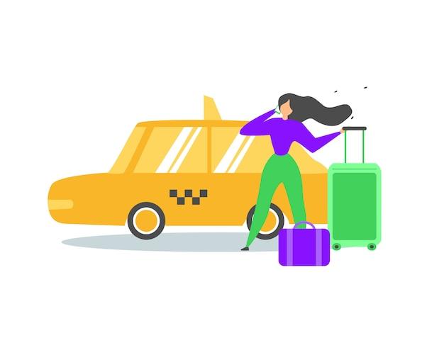Traveling woman calling taxi service flat vector Premium Vector