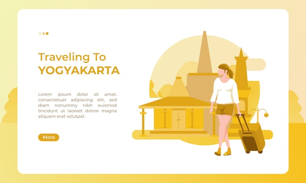 Traveling to yogyakarta indonesia, illustrated with a holiday theme for a tourism day Premium Vector