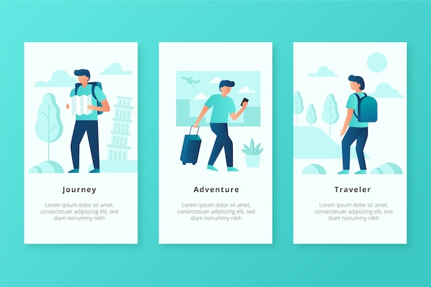 Traveller mobile app screens Free Vector