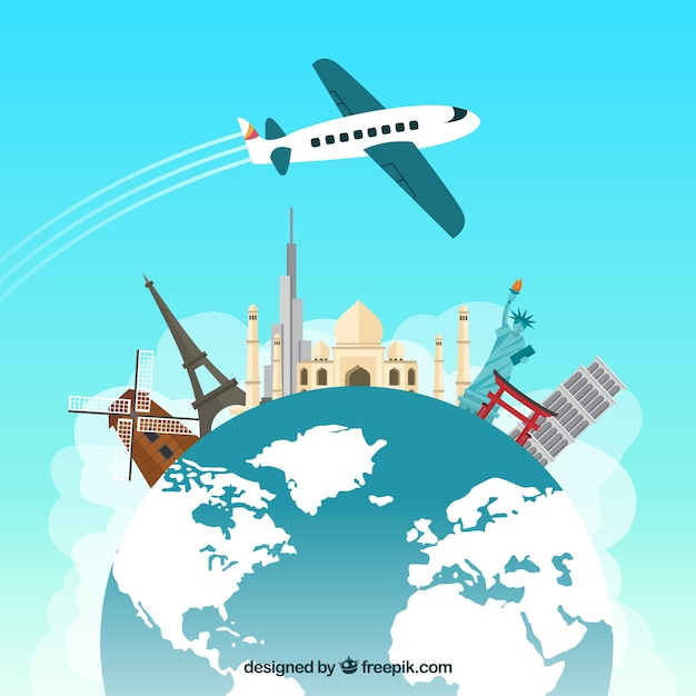 Travelling around the world Free Vector