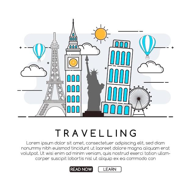 旅行の背景デザイン 無料ベクター