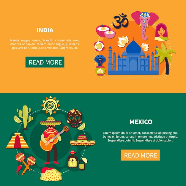 Travelling banners set Free Vector