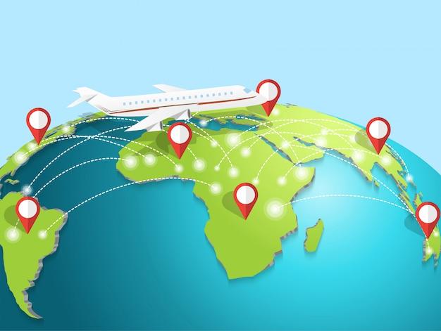 Travelling by airplane around the globe Premium Vector