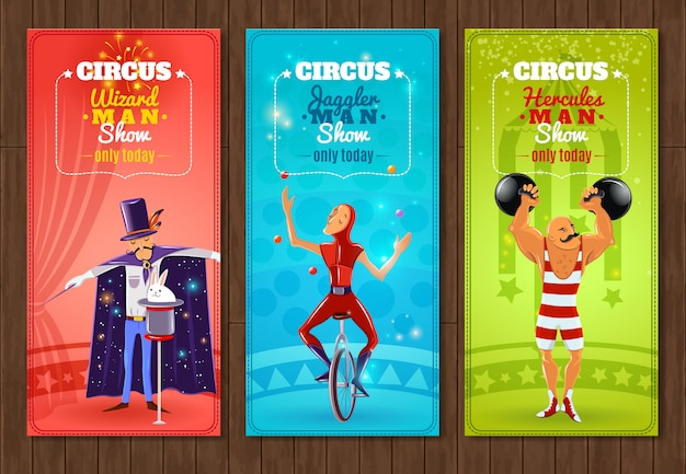Travelling circus show flat banners set Free Vector