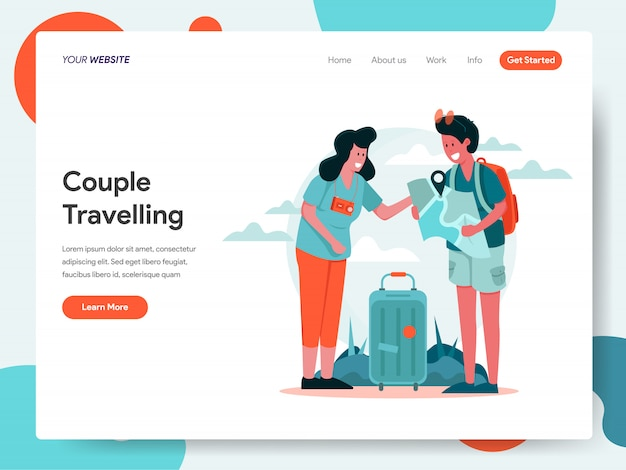 Travelling couple banner for landing page Premium Vector