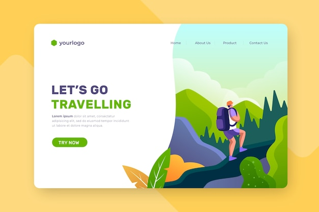 Travelling landing page with illustrated background Free Vector