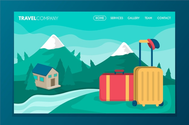 Travelling landing page with illustration Free Vector