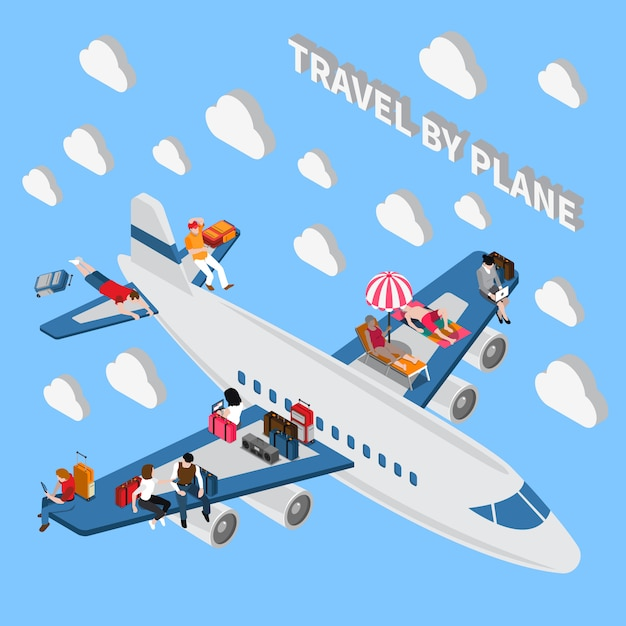 Travelling people isometric Free Vector