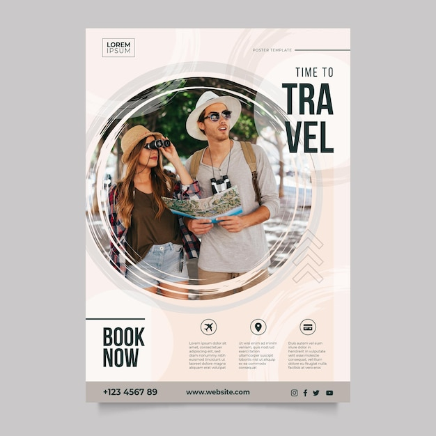 Travelling poster template with photo Free Vector