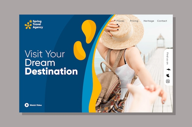 Travelling sales web page template Free Vector