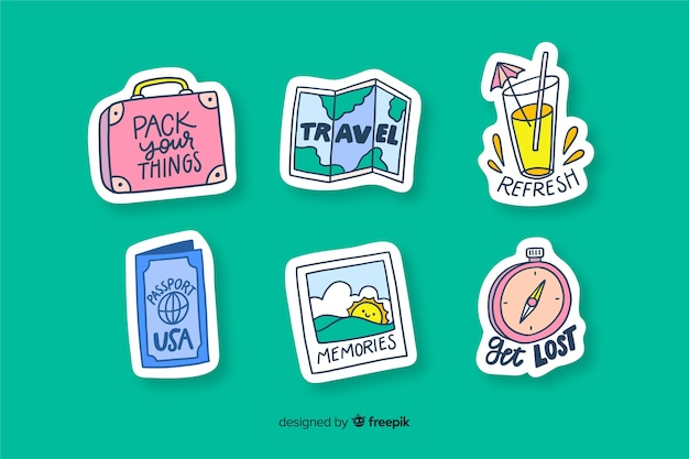 Travelling stickers to decorate photos Free Vector