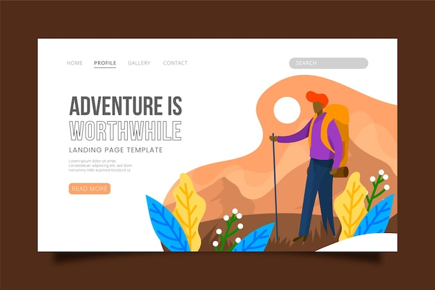 Travelling themed landing page Free Vector