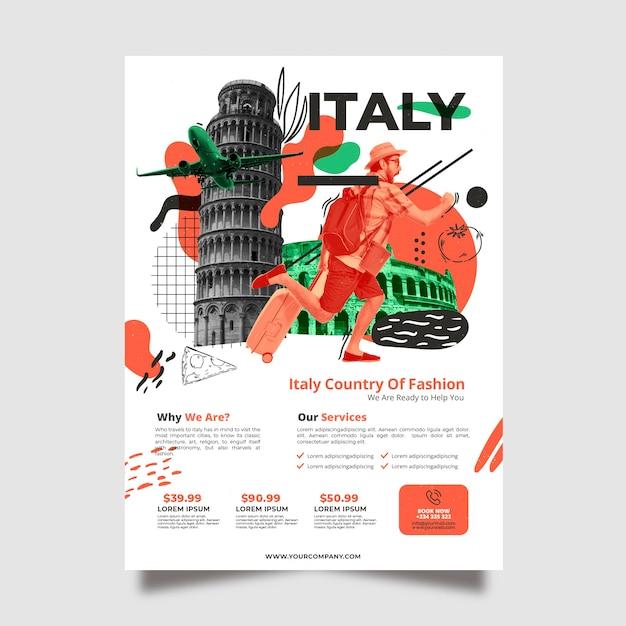 Путешествие в италию шаблон постера канцелярских товаров Бесплатные векторы