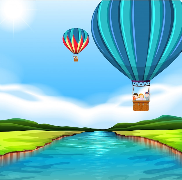 Travelling with hot air balloon Free Vector