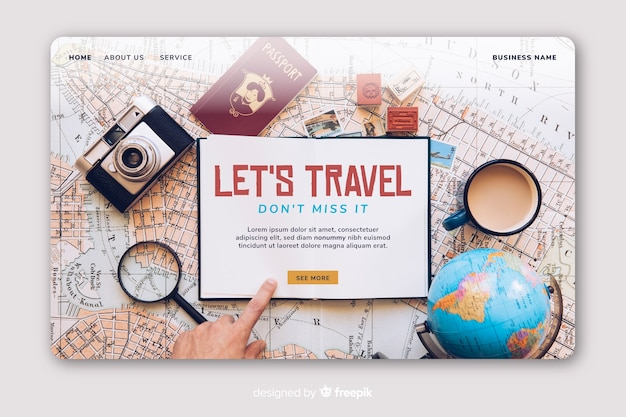 Travil landing page with photo Free Vector