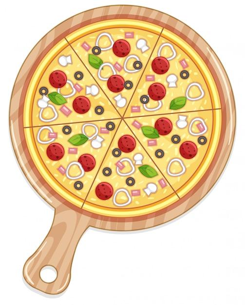 Лоток для пиццы с мясной и овощной начинкой Бесплатные векторы