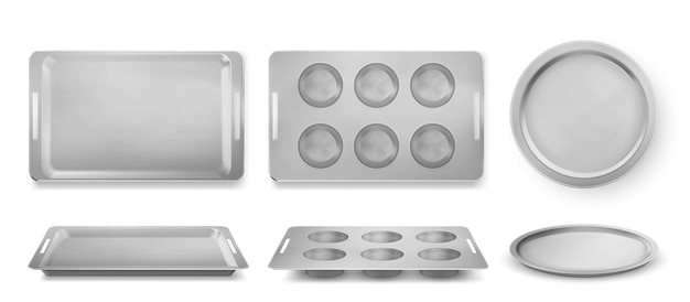 Vassoi per la cottura di muffin, pizza e panetteria vista dall'alto e frontale, teglie vuote Vettore gratuito