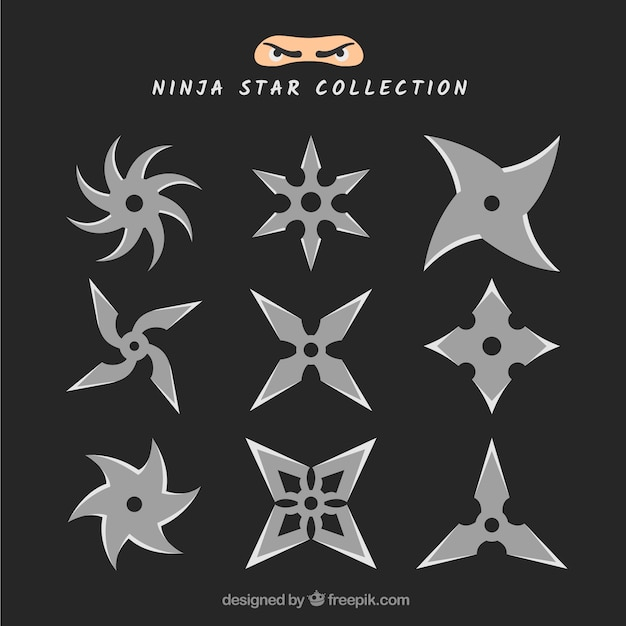 Trditional ninja star collection with flat\ design