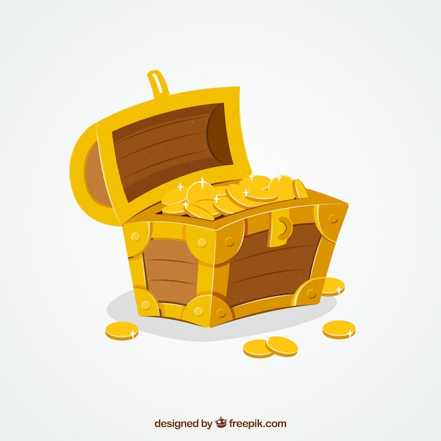 Treasure box background with gold and diamonds Free Vector