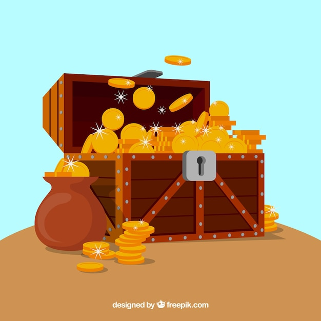 Treasure box background Free Vector